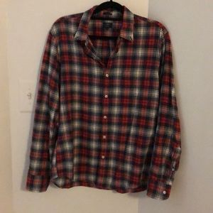 J Crew Homespun Red Plaid Button Down Slim Shirt L